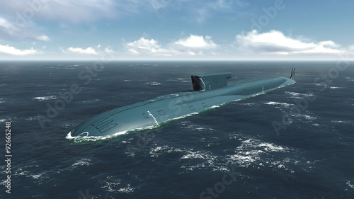 фотографія  Floating russian nuclear submarine at sea