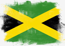 Flag Of Jamaica Painted With Brush