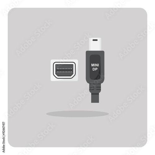 Fotografía  Vector of flat icon, mini display port connector on isolated background