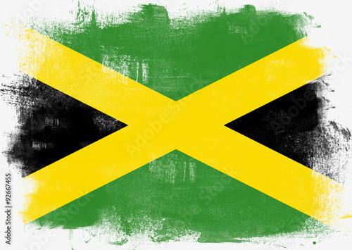 Valokuvatapetti Flag of Jamaica painted with brush