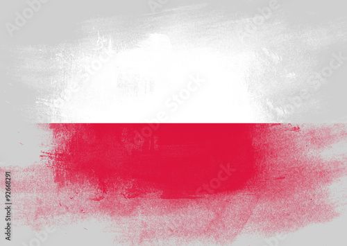 Flag of Poland painted with brush Fototapet