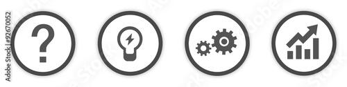 Fotografie, Tablou Business Idea Icons Buttons flat