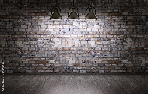 Brick wall and lamps background