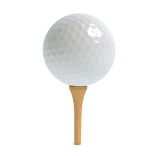 3d Illustration Of A Golf Ball On A Tee