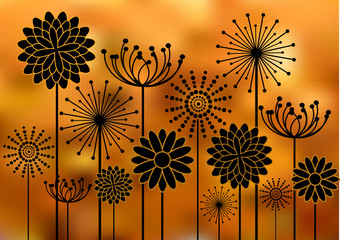 Panel Szklany black flowers silhouettes on bokeh background