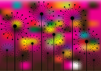 Panel Szklany Dmuchawce abstract vector background with dandelions silhouettes