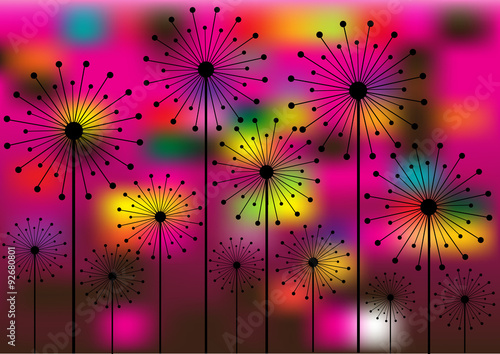abstract vector background with dandelions silhouettes - 92680801