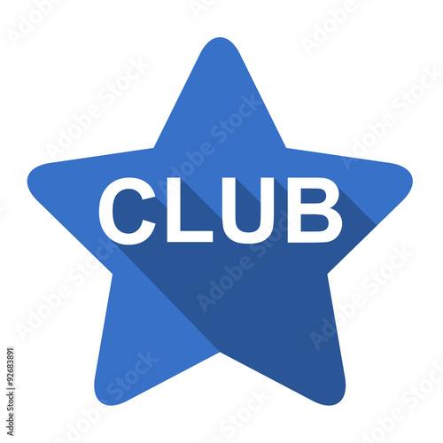 Fotografie, Tablou  Icono plano estrella texto CLUB sombra azul