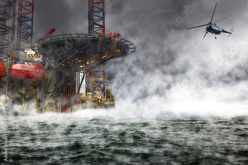 A helicopter rescue mission landing on Oil Rig. © Nightman1965