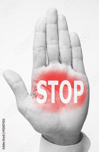 Fotografía  hand with superscription STOP