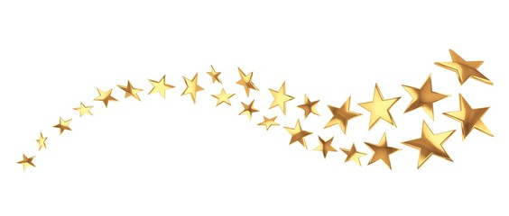 FototapetaFlying golden stars on white background