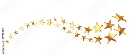 Flying golden stars on white background - 92694441