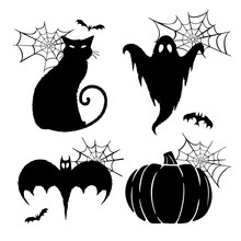 Halloween Graphics. Silhouetted Vector Halloween Graphics Of A Ghost, Black Cat, Bat, And Pumpkin.