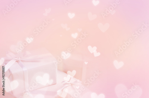 Fotografie, Obraz  Pastel pink background, with gift boxes