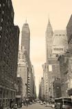 New York City Manhattan street view black and white - 92702475