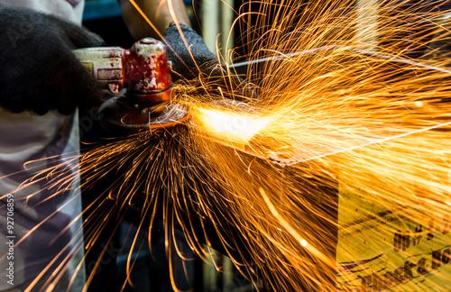 Fotografie, Obraz  Angle grinder sparks close-up