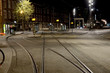 Abstract cityscape with tram tracks on the road in Amsterdam, Ne