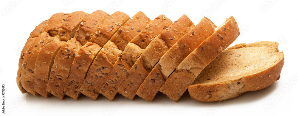 pane integrale tagliato e fette