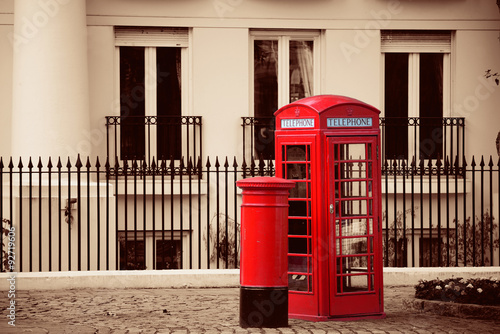 telephone booth and mail box Poster