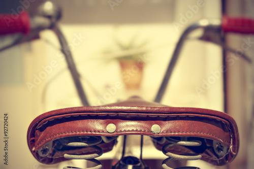Fotobehang Fiets Retro bicycle saddle detail. Vintage style.