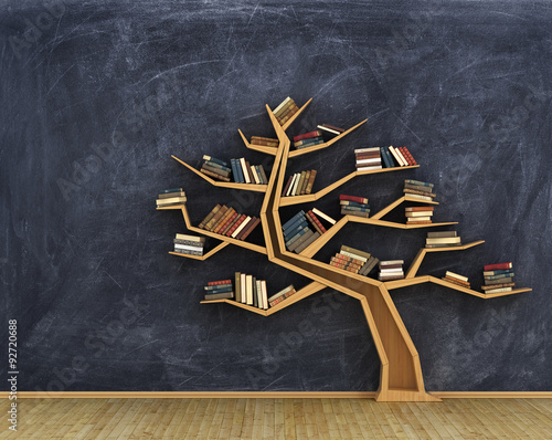 Fotografía  Concept of science. Bookshelf full of books in form of tree on a