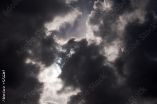 Fototapety, obrazy: black thundercloud with sunbeam