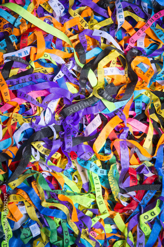 Deurstickers Paradijsvogel Brazilian wish ribbons pile in a colorful full frame background