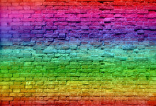 Conceptual Old Vintage Colorful Brick Wall
