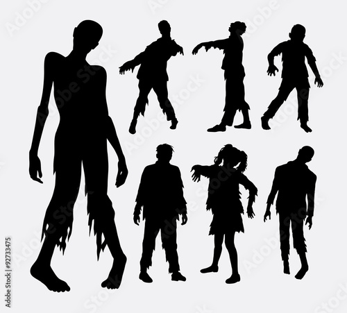 Zombie horror people silhouettes Wallpaper Mural