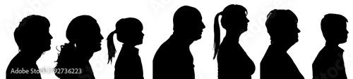Obraz na plátně Vector silhouette profile of people.