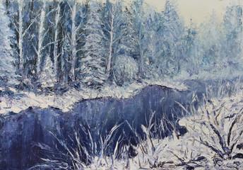 FototapetaRiver in the winter forest