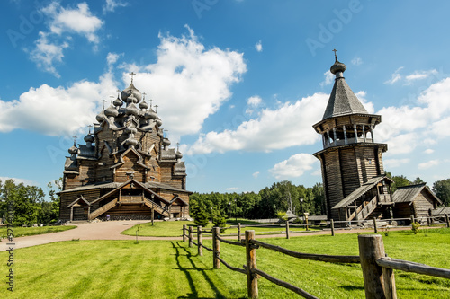 Poster de jardin Monument The monument of wooden architecture Pokrovsky graveyard in St. P