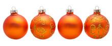 Four Orange Xmas Balls Isolate...