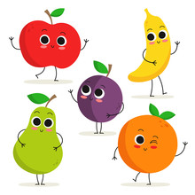 Set Of 5 Cute Cartoon Fruit Ch...