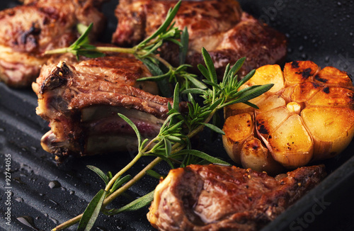Fotografia, Obraz  Roasted lamb ribs with spices