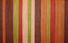 Closeup Of Colorful Woven Striped Basket