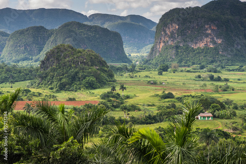 Door stickers Olive Panoramic view over landscape with mogotes in Cuba