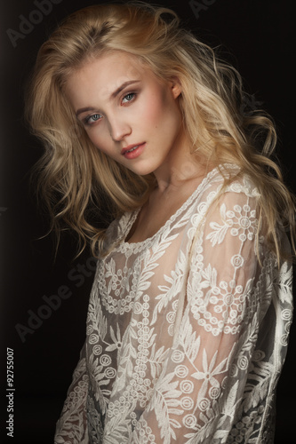 Fotografering Studio portrait of a beautiful young blond woman
