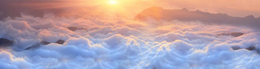 Fototapeta Dawn above the sea of fog