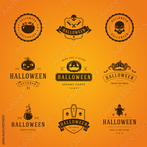 Fototapeta Halloween Badges and Labels, Greetings Cards vector design obraz na płótnie