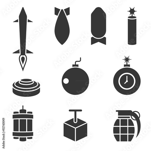 Vector bomber and dynamite icons set Canvas-taulu