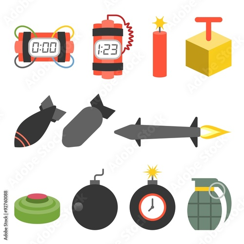Vector bomb and dynamite icons set,flat design Canvas-taulu