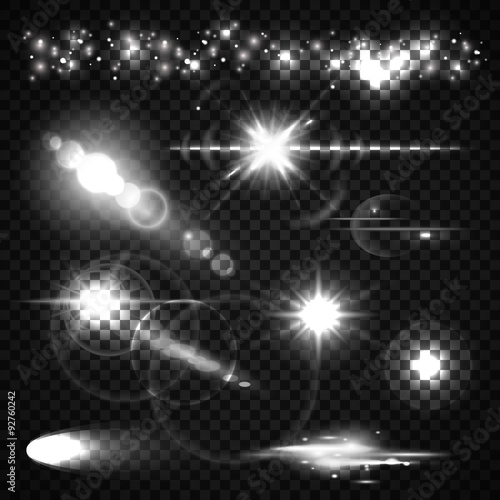 Fotografie, Obraz  Set of Light effects, spotlights, flash, stars and particles for