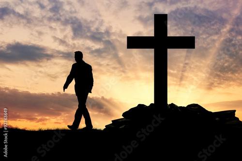 Photo Silhouette of a man an atheist