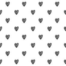 Hearts Scribble Sketch Pattern Background.