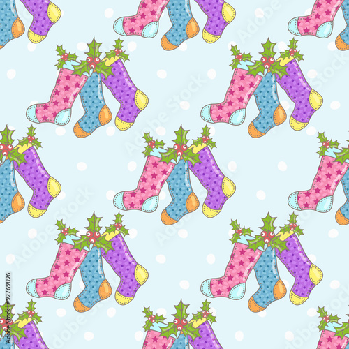 Poster Hibou Christmas seamless background with Christmas socks on a blue background