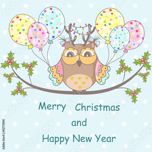 Poster Hibou Christmas card with Christmas owl on a blue background