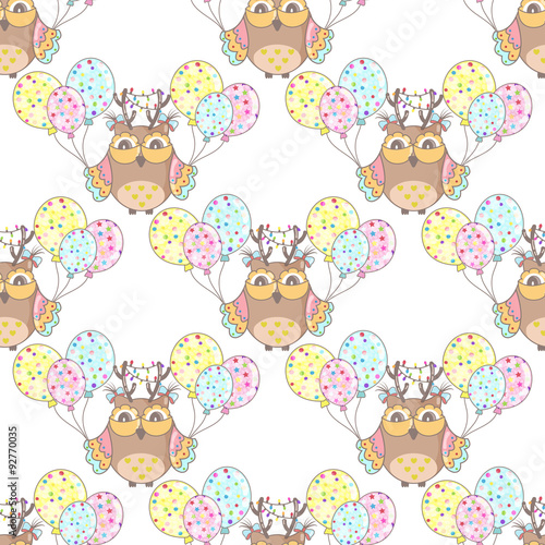 Poster Hibou Seamless festive background with owls and balloons
