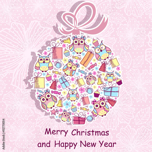 Poster Hibou Beautiful Christmas background with owls, sweets, gifts on pink background with a pattern