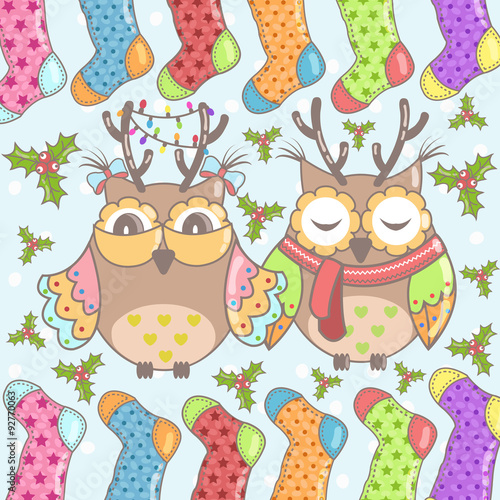 Poster Hibou Christmas card with owls and Christmas socks on a blue background